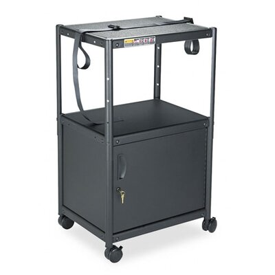 Quartet® Five-In-One Adjustable-Height AV Cart with Cabinet in Gray