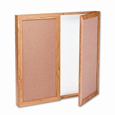 Quartet® Conference Cabinet, Cork/Dry-Erase Melamine, 36 x 36, White/Oak Frame