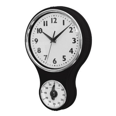 Retro Kitchen Wall Clock with Timer in Black