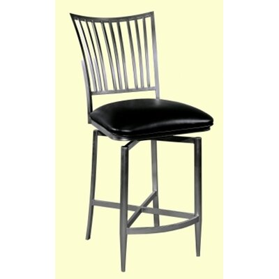 Chintaly Imports Ashtyn Memory Swivel Counter Stool in Nickel Plated