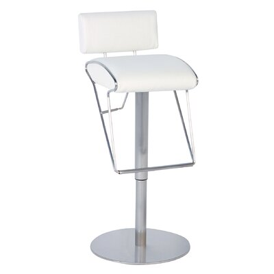 Chintaly Imports Adjustable Swivel Stool with Upholstered Back in White