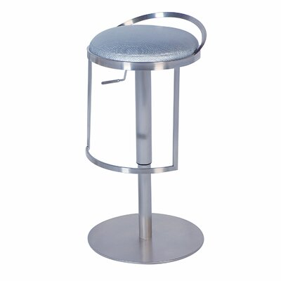 Chintaly Adjustable Swivel Stool with Round Seat in Silver
