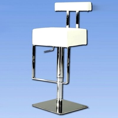 Chintaly Imports Adjustable Upholstered Swivel Stool in White