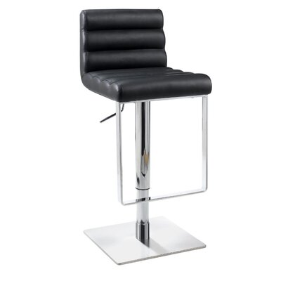 Chintaly Imports Adjustable Swivel Stool with Cushioned Back in Black