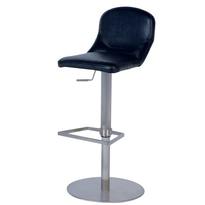 Chintaly Mid Back Adjustable Swivel Stool in Black