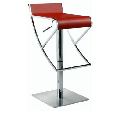 Chintaly Adjustable Swivel Stool with Rectangular Seat in Red