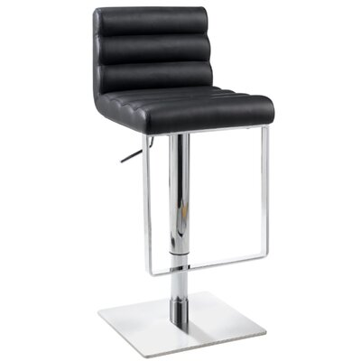 Adjustable Swivel Stool with Cushioned Back in Black