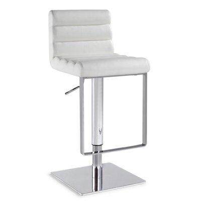 Adjustable Swivel Stool with Cushioned Back in White