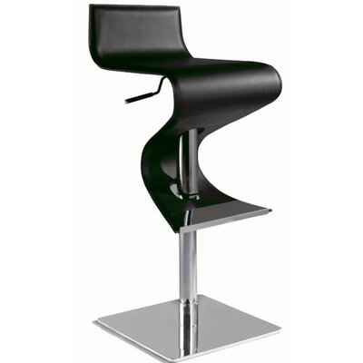 Chintaly Adjustable Contemporary Swivel Stool in Black