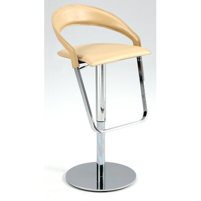 Chintaly Curved Back Adjustable Height Reg. Leather Stool
