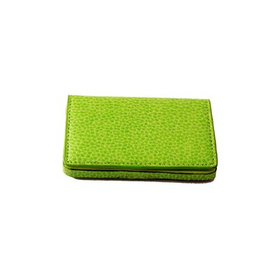 Budd Leather On the Go Pebble Grain Magnetic Business Card Case in Lime