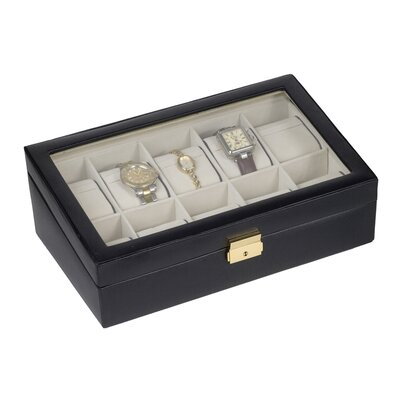 Budd Leather Men's 10 Watch Box with Glass Top in Black