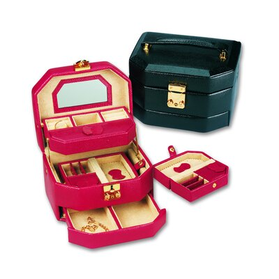 Budd Leather Lizard Grain Ladies Calf Jewelry Box in Black