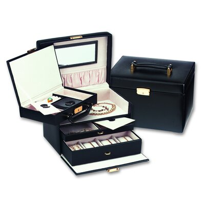 Ladies Classic Jewelry Box with Removable Attachment in Black