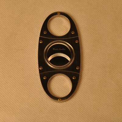 Budd Leather Stainless Steel Cigar Cutter with Gold Screws