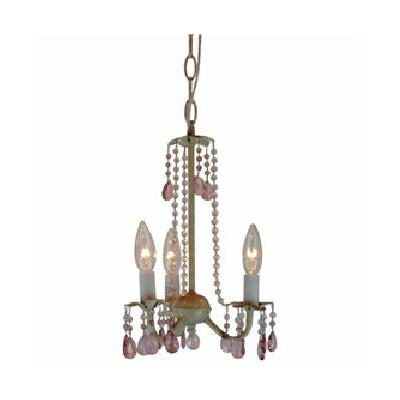 Crystal Flair 3 Light Mini Chandelier with Mix Beads Crystal Droplets