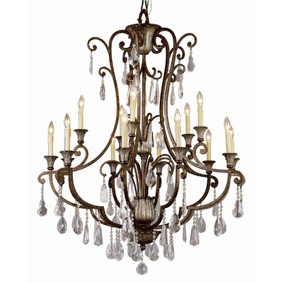TransGlobe Lighting Crystal Flair 15 Light Chandelier with Crystal Accents
