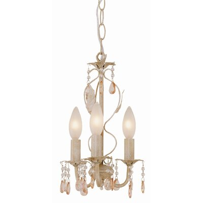Crystal Flair 3 Light Mini Chandelier with Crystal Droplets