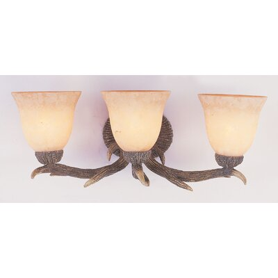 TransGlobe Lighting Deer Antler 3 Light Bath Vanity Light