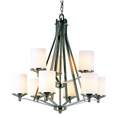 9 Light Chandelier with Frosted Shade