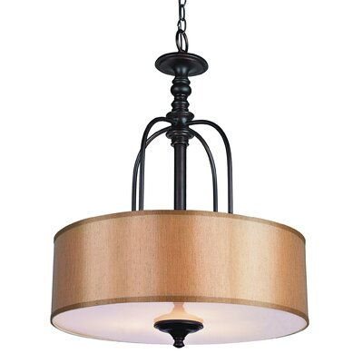 TransGlobe Lighting Modern Meets Traditional 3 Light Drum Pendant