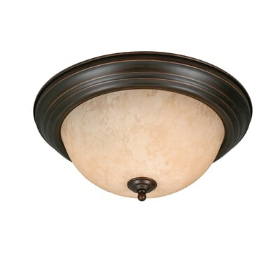 Golden Lighting Multi Family Flush Mount with Tea Stone Glass in Rubbed Bronze