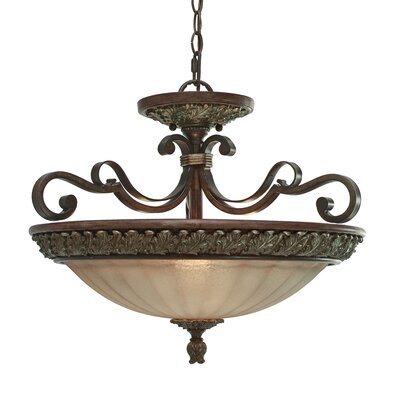 Golden Lighting Bristol Place 3 Light Convertible Inverted Pendant
