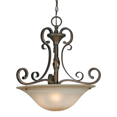 Golden Lighting Meridian 3 Light Bowl Inverted Pendant