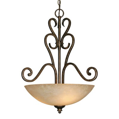 Heartwood 3 Light Bowl Inverted Pendant