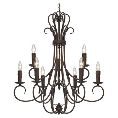 <strong>Golden Lighting</strong> Homestead 9 Light Chandelier