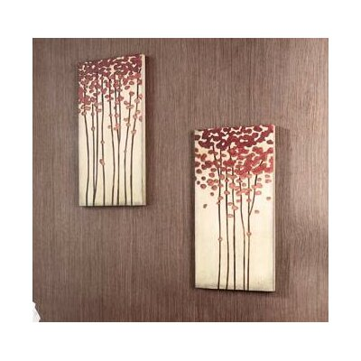 "Kokoware 12"" x 24"" Wood Crafted Tree Wall Art - Set of 2"