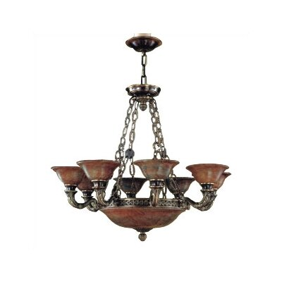 Zaneen Lighting Avila Traditional Chandelier in Antique Brass