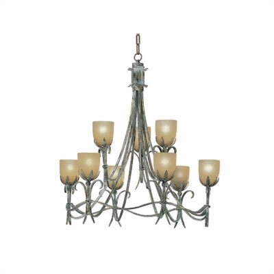 Zaneen Lighting Latina Nine Light Chandelier in Vintage Bronze