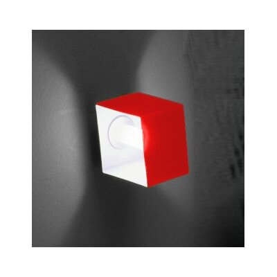 Zaneen Lighting Domino One Light Wall Sconce in Metallic Gray with Red Glass