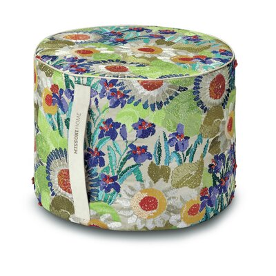 Margherita Pointillee Cylindrical Pouf Ottoman