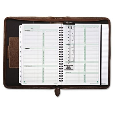 Day-Timer® Green Series Basque Leather Wirebound Organizer Starter Set, 5 1/2x8 1/2, Black