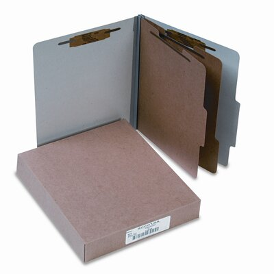 Acco Brands, Inc. Pressboard 25-Point Classification Folders, Ltr, 6-Section, Mist Gray, 10/box