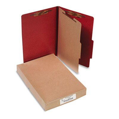 Acco Brands, Inc. Pressboard 25-Point Classification Folder, Lgl, 4-Section, Earth Red, 10/bx