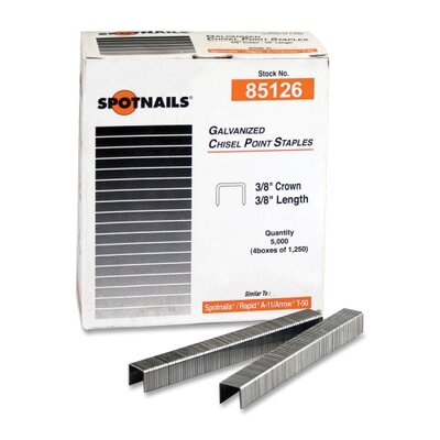 "Ace Office Products Staples, Chisel Point, 3/8"" Crown, 38"" Length, 5000 per Box"
