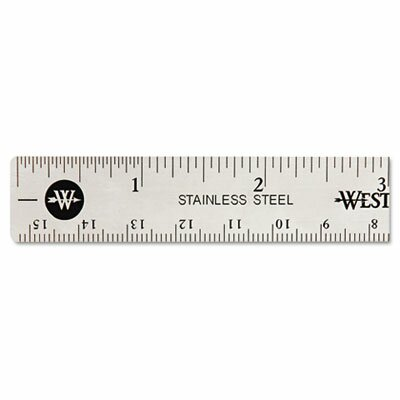 Acme United Corporation Westcott Stainless Steel office Ruler with Non Slip Cork Base, 6""