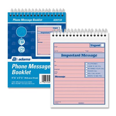 "Adams Business Forms While You Were Out Phone Message Book, 50 Sets, 4""x5-1/2"""