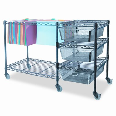 Advantus Corp. Mobile File Cart with Drawers, 38W X 15-1/2D X 28H