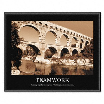 "Advantus Corp. ""Teamwork"" Framed Sepia-Tone Motivational Print, 30w x 24h"