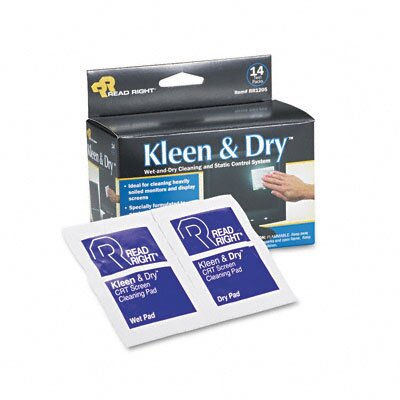 Advantus Corp. Read Right Kleen & Dry Screen Cleaner Wet Wipes, Cloth, 5 X 5, 14/Box