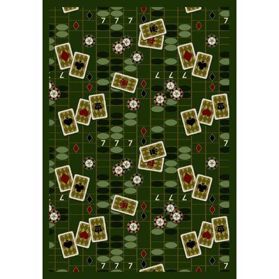 Joy Carpets Gaming and Entertainment Feeling Lucky Emerald Novelty Rug