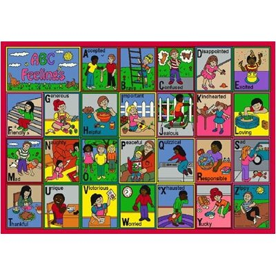 Joy Carpets Educational ABC Feelings Kids Rug