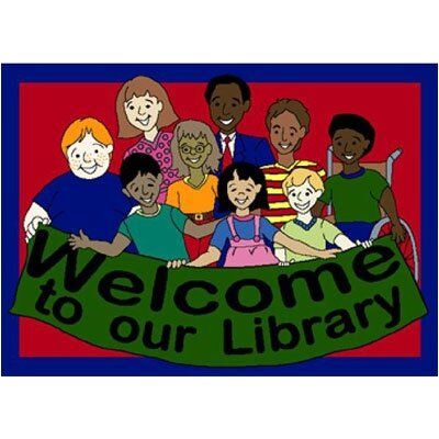 Joy Carpets Educational Welcome to Our Library Kids Rug
