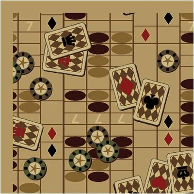 Joy Carpets Gaming and Entertainment Feeling Lucky Beige Novelty Rug