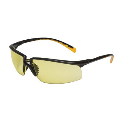 Aearo Technologies Safety Glasses With Black Frame With Orange Accent Temple Tips And Amber Anti-Fog Lens