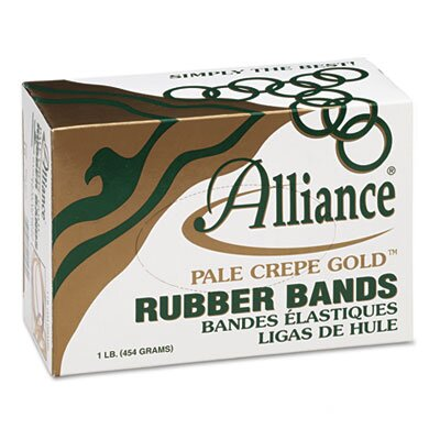 Alliance Rubber Pale Crepe Gold Rubber Bands, Size 19, 3-1/2 x 1/16, 1lb Box